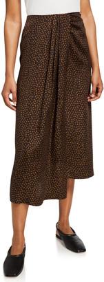 Vince Star Dot Asymmetric Drape Skirt