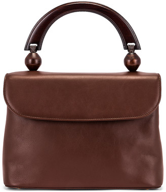 BY FAR Fiona Leather Top Handle Bag in Chocolate | FWRD