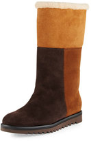Aquatalia by Marvin K Paulina Fur-Lined Patchwork Tall Boot, Chestnut/Combo