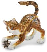 Jere Collections Bejeweled Pewter Playful Cat Mouse Trinket Box