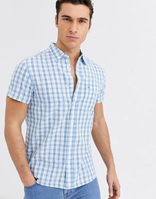 Wrangler plaid check short sleeve shirt in blue