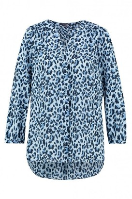 NYDJ Canyon Cat Print Pintuck Blouse - Xlarge