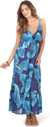 Dannii Matthews Ladies 100% Cotton Poppy Print Strappy Maxi Summer Dress with Crossover V Neck