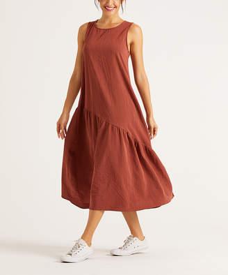 Simple By Suzanne Betro Simple by Suzanne Betro Women's Casual Dresses 101BRICK - Brick Asymmetrical Relaxed-Fit Drop-Waist Dress - Women & Plus