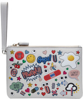 Anya Hindmarch Off-white All-over Stickers Zip Top Pouch