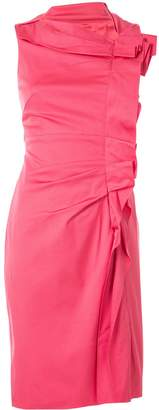 Paule Ka ruffle sleeveless fitted dress