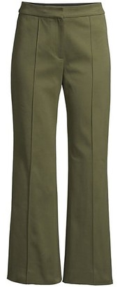 Cropped Flare Twill Trousers
