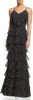 Aqua Dot-Print Ruffle Gown - 100% Exclusive