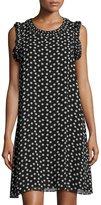 Max Studio Dot-Print Georgette Dress, Black Pattern