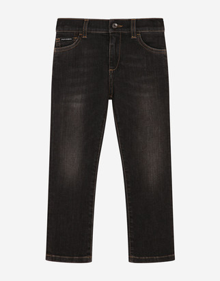 Dolce & Gabbana Stretch Regular Fit Grey Jeans With Rips