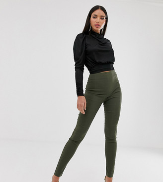 Asos Tall DESIGN Tall high waist trousers in skinny fit-Green