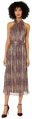 ML Monique Lhuillier Sleeveless Midi Dress with Ruched Waist (Berry/Gold Combo) Women's Clothing