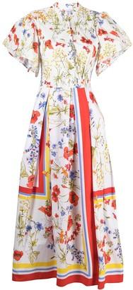 Sara Roka Floral-Print Box-Pleat Midi Dress