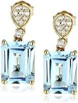 10k Yellow Gold Emerald-Cut Topaz and Diamond Drop Earrings (1/10cttw, I-J Color, I2-I3 Clarity)