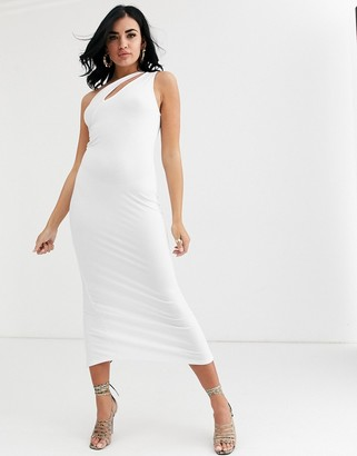 ASOS DESIGN going out slash front maxi dress in white