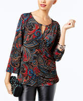 INC International Concepts Petite Printed Surplice Top, Created for Macy's