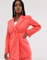 Asos Design DESIGN strong shoulder suit blazer in coral