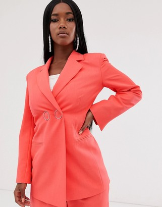 Asos Design DESIGN strong shoulder suit blazer in coral-Orange