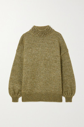 See by Chloe Oversized Embellished Wool And Cotton-blend Sweater - Army green