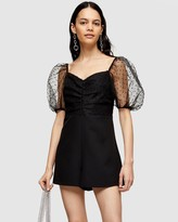 Topshop Puff Sleeve Playsuit