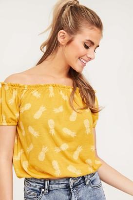 Ardene Off Shoulder Pineapple Print Tee