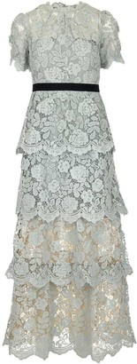 Self-Portrait Layered Lace Belted Dress