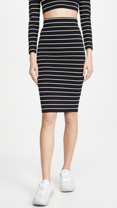 Good American Stripe Midi Skirt