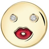 Alison Lou Women's 14 ct Yellow Gold Diamond and Red Enamel Mwa! Single Stud Earring