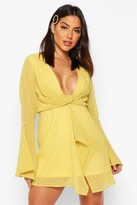 boohoo Dobby Plunge Front Flared Sleeve Shift Dress