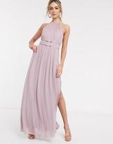Lipsy halterneck mesh full prom maxi dress in lavender