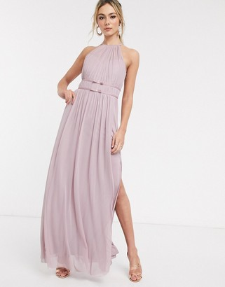 Lipsy halterneck mesh full prom maxi dress in lavender