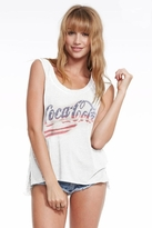 Chaser LA Stars & Stripes Coca Cola Sleeveless Tank in White