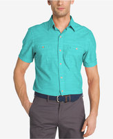 Izod Men's Dual-Pocket Chambray Cotton Shirt