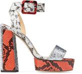 Jimmy Choo JAX/PF 125 Multicolour Elaphe and Galactica Glitter Fabric Platform Sandals