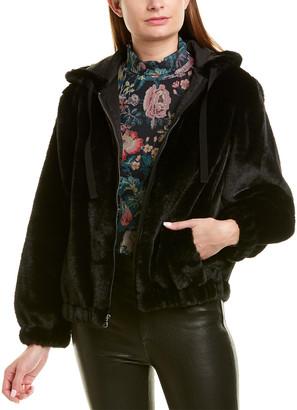 La Vie Rebecca Taylor Fuzzy Bomber Jacket