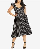 City Chic Trendy Plus Size Polka-Dot Midi Dress