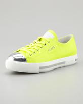 Prada Metallic Cap-Toe Neon Platform Sneaker