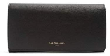 Balenciaga Essential Fold Over Leather Wallet - Womens - Black