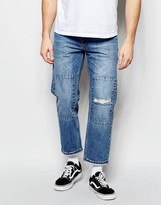 Asos Straight Jeans In Cropped Length With Patches