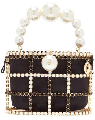 Rosantica Holli Crystal-cage And Satin Bag - Black White