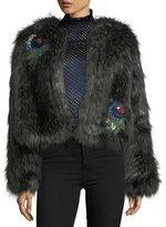 Saloni Faux-Fur Crop Jacket w/ Embellished Appliques