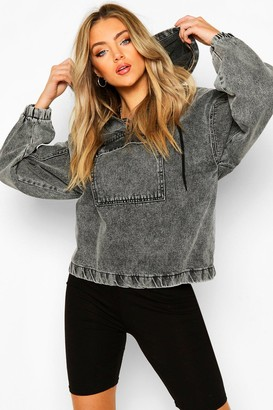 boohoo Hooded Acid Wash Pull Over Denim Jacket