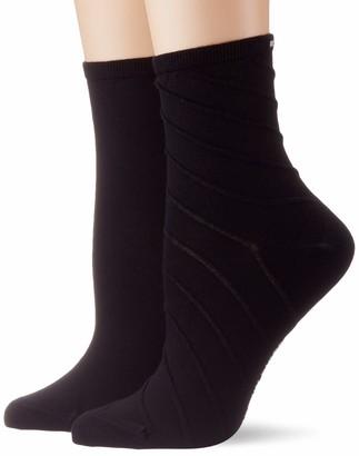 Tommy Hilfiger Women's Th Short Sock 2p Open Bias Calf
