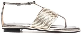 Alexandre Birman Metallic-Effect Flat Sandals