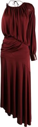 Sies Marjan One Shoulder Asymmetric Draped Evening Dress