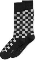 Alfani Spectrum Men's Socks, Fashion Block Plaid Casual Crew Socks