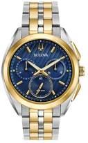 Bulova Two Tone Gold Chronograph Curv Bracelet Watch 98a159