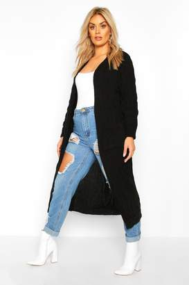 boohoo Plus Knitted Twist Detail Pocket Maxi Cardigan