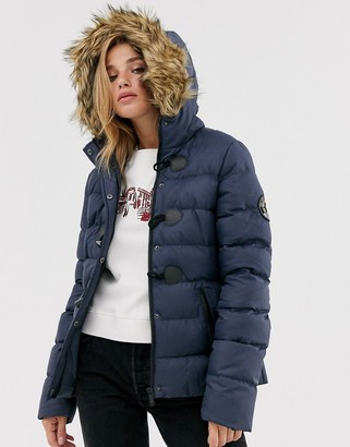 Brave Soul wizard padded coat with faux fur hood-Navy