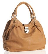 Sorial camel ruched leather large tote